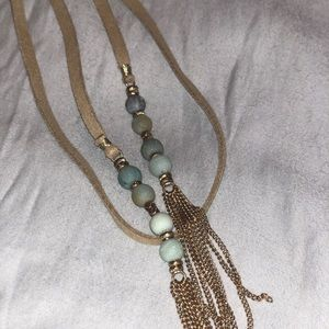Jewelry - Double wrap, tan beaded long necklace